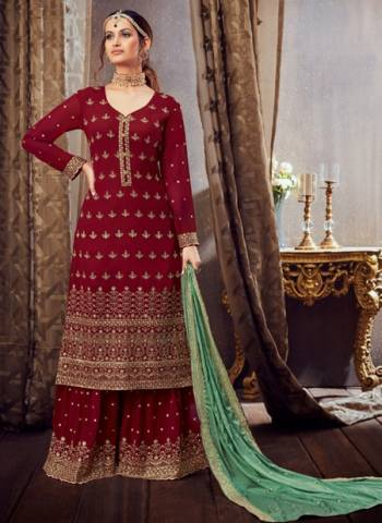 Maroon Pure Georgette Festival Wear Embroidery Work Sharara Suit