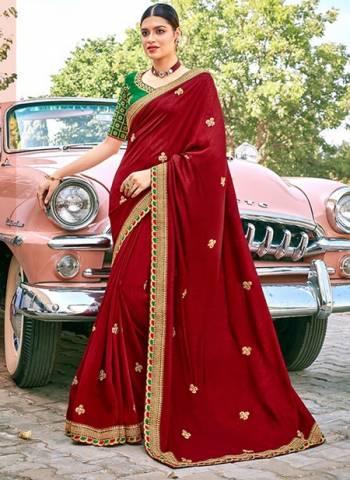 Maroon Satin Silk Party Wear Border Work Designer Saree