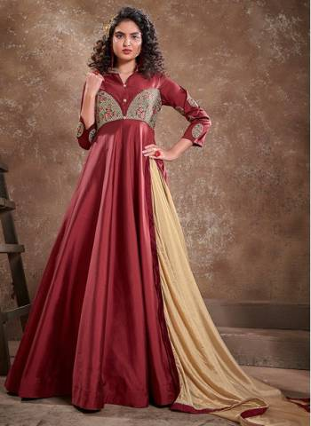 Maroon Silk Party Wear Fancy Embroidery Work Gown With Dupatta
