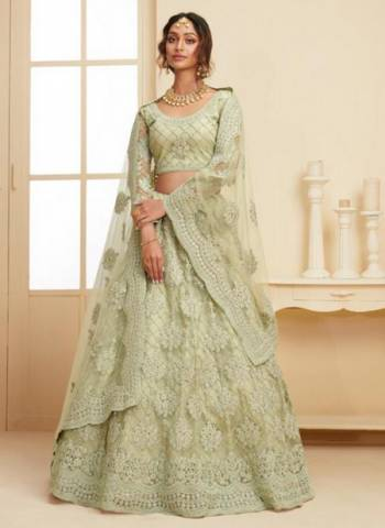 Mint Green Net Wedding Wear Embroidery Work Lehenga Choli