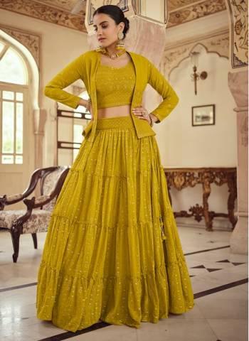 Musterd Georgette Wedding Wear Stylish Thread Work Lehenga Choli