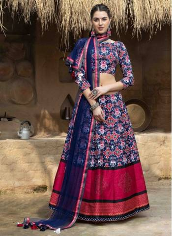 Navy Blue Art Silk Party Wear Designer Printed Work Lehenga Choli