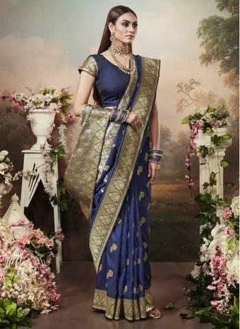 Navy Blue Banarasi Silk Designer Heavy Weaving Wedding Wear Saree