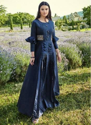 Navy Blue Cotton Silk Festival Wear Designer Embroidery Work Gown