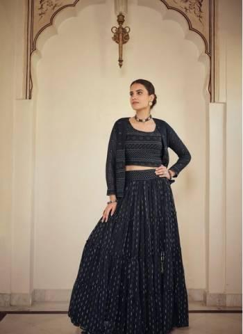 Navy Blue Georgette Wedding Wear Stylish Thread Work Lehenga Choli