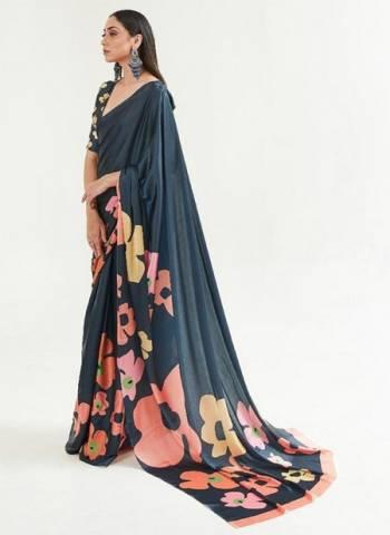 Navy Blue Japan Satin Casual Wear Digital Printed Saree