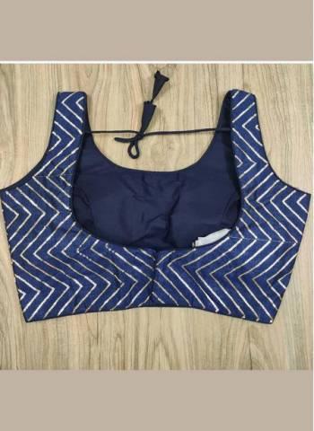 Navy Blue Phantom Silk Party Wear New Sequins Work Blouse