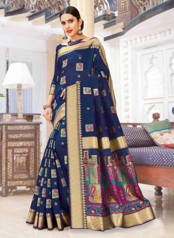 Navy Blue Pure Chanderi Cotton Party Wear Weaving Sarees