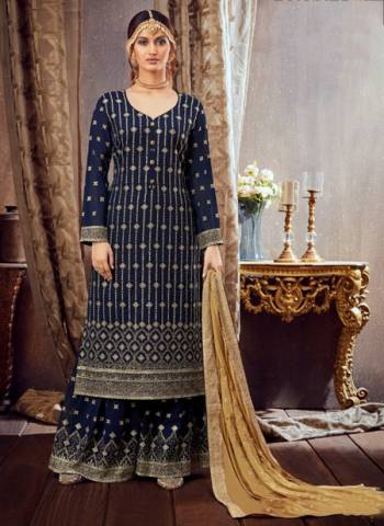 Navy Blue Pure Georgette Festival Wear Embroidery Work Sharara Suit