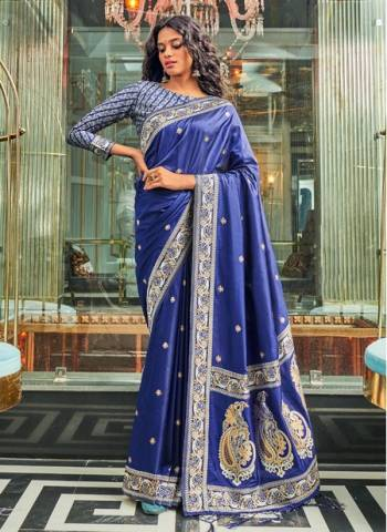 Navy Blue Pure Silk Wedding Wear Traditional Weaving Saree