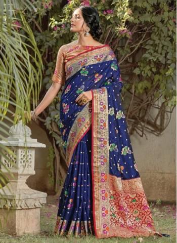 Navy Blue Silk Festival Wear Designer Weaving Saree