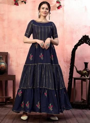 Navy Blue Silk Party Wear Thread Work Gown