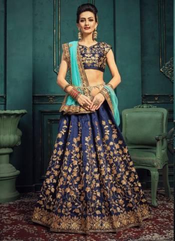 Navy Blue Silk Wedding Wear Embroidery Work Designer Lehenga Choli