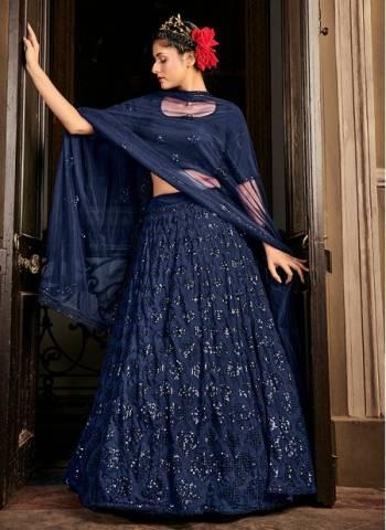 Navy blue Georgette Bridal Wear Stylish Embroidery Work Lehenga Choli