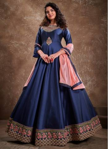 Navy blue Silk Party Wear Fancy Embroidery Work Gown With Dupatta