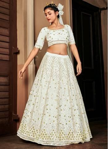 Off White Georgette Bridal Wear Stylish Embroidery Work Lehenga Choli