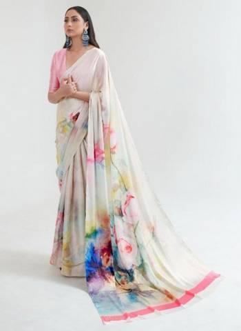 Off White Japan Satin Casual Wear Digital Printed Saree