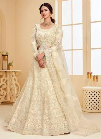 Off White Net Satin Wedding Wear Embroidery Work Lehenga Choli
