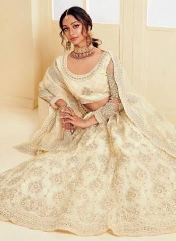 Off White Satin Silk Net Wedding Wear Embroidery Work Lehenga Choli