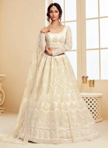 Off White Satin Silk Wedding Wear Embroidery Work Lehenga Choli