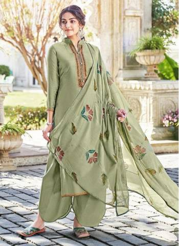 Olive Green Cotton Silk Party Wear Embroidery Work Palazzo Suit
