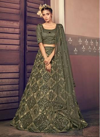 Olive Green Net Wedding Wear Sequins Work Fancy Lehenga Choli