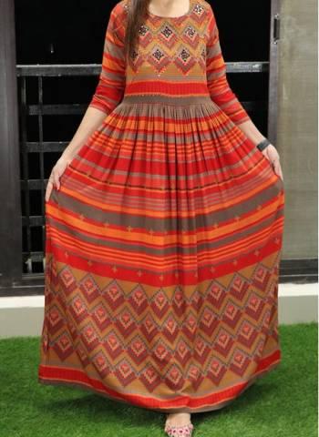 Orange Cotton Regular Wear Printed Work Long Gown