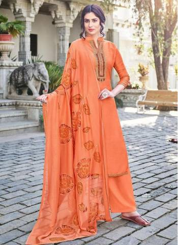 Orange Cotton Silk Party Wear Embroidery Work Palazzo Suit