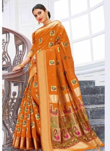 Orange Pure Chanderi Cotton Party Wear Weaving Sarees