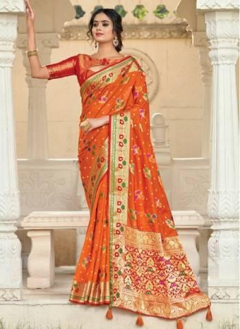 Orange Silk Festival Wear Designer Weaving Saree