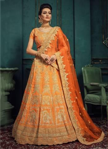 Orange Silk Wedding Wear Embroidery Work Designer Lehenga Choli