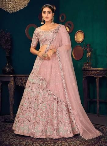 Pastel Pink Georgette Reception Wear Thread Work Wedding Lehenga Choli