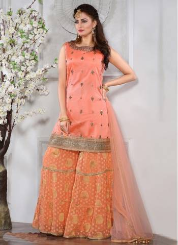 Peach Chanderi silk Party Wear Designer Thread Work Readymade Sharara Suit