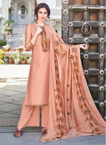 Peach Cotton Silk Party Wear Embroidery Work Palazzo Suit
