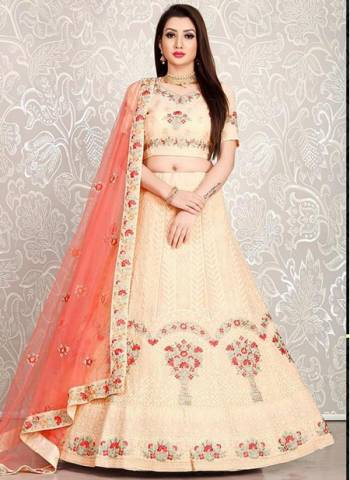 Peach Georgette Sangeet Wear Designer Thread Work Lehenga Choli