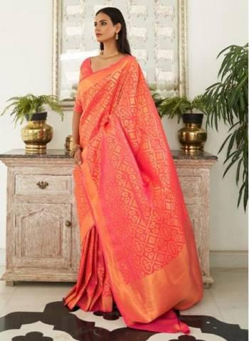 Peach Silk Traditional Wear Fancy Weaving Saree