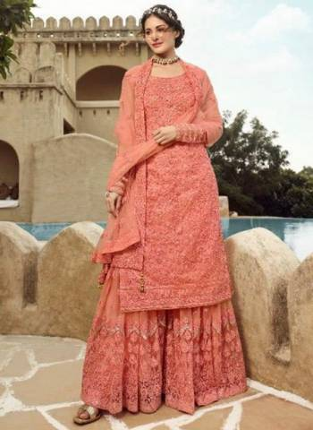 Pink Net Bridal Wear Embroidery Work Designer Sharara Suit