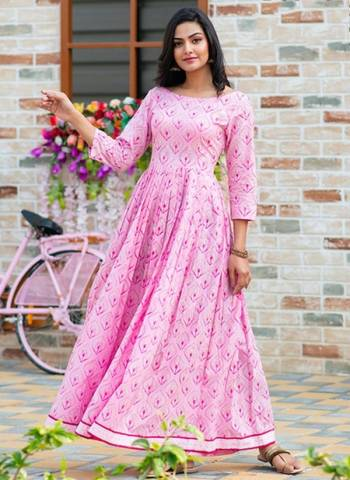 Pink Pure Muslin Stylish Casual Wear Printed Work Gown