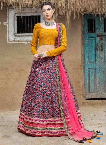 Pink Art Silk Party Wear Designer Printed Work Lehenga Choli