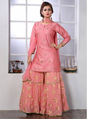 Pink Art silk Party Wear Designer Thread Work Readymade Sharara Suit