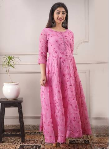 Pink Chanderi Casual Wear Designer Foil Printed Gown