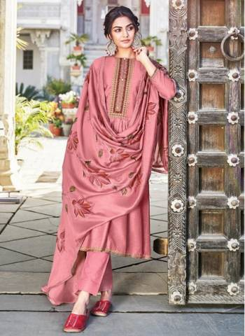 Pink Cotton Silk Party Wear Embroidery Work Palazzo Suit