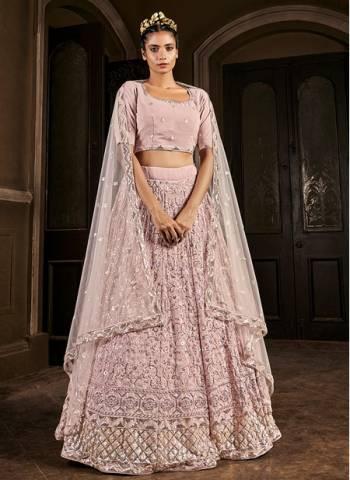Pink Georgette Bridal Wear Stylish Embroidery Work Lehenga Choli
