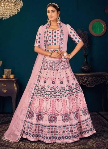 Pink Georgette Reception Wear Thread Work Wedding Lehenga Choli