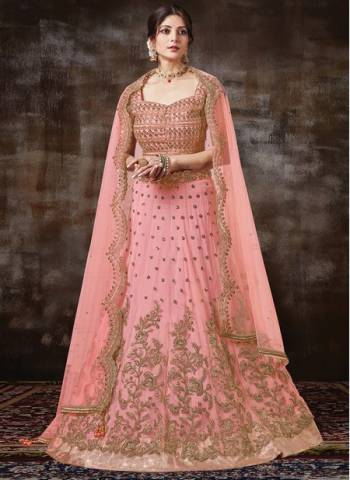 Pink Georgette Silk Wedding Wear Designer Embroidery Work Lehenga Choli