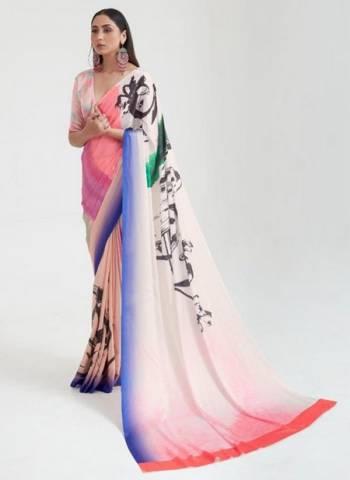 Pink Japan Satin Casual Wear Digital Printed Saree