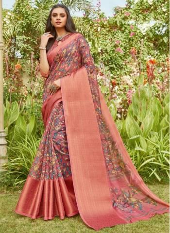 Pink Linen Party Wear Designer Weaving Saree