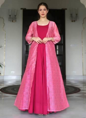 Pink Muslin Silk Party Wear Digital Print Gown