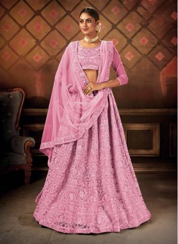 Pink Net Party Wear Designer Embroidery Work Lehenga Choli