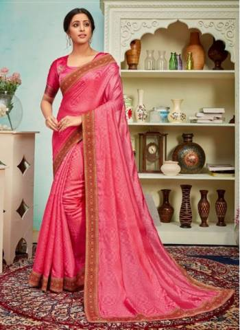 Pink Polyster Silk Party Wear Designer Digital Border Work Saree